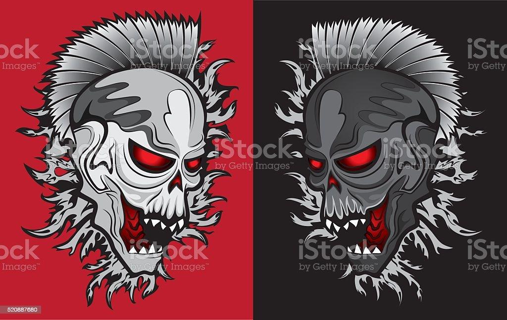 Ilustración de De Miedo Robot De Punk Cráneo Humano Diseño ...