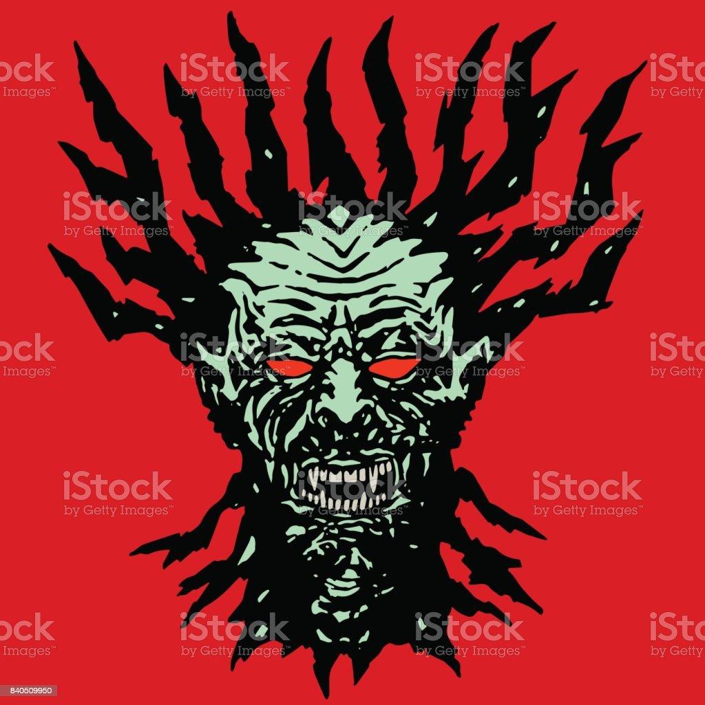 Scary hungry vampire head. Vector illustration. vector art illustration