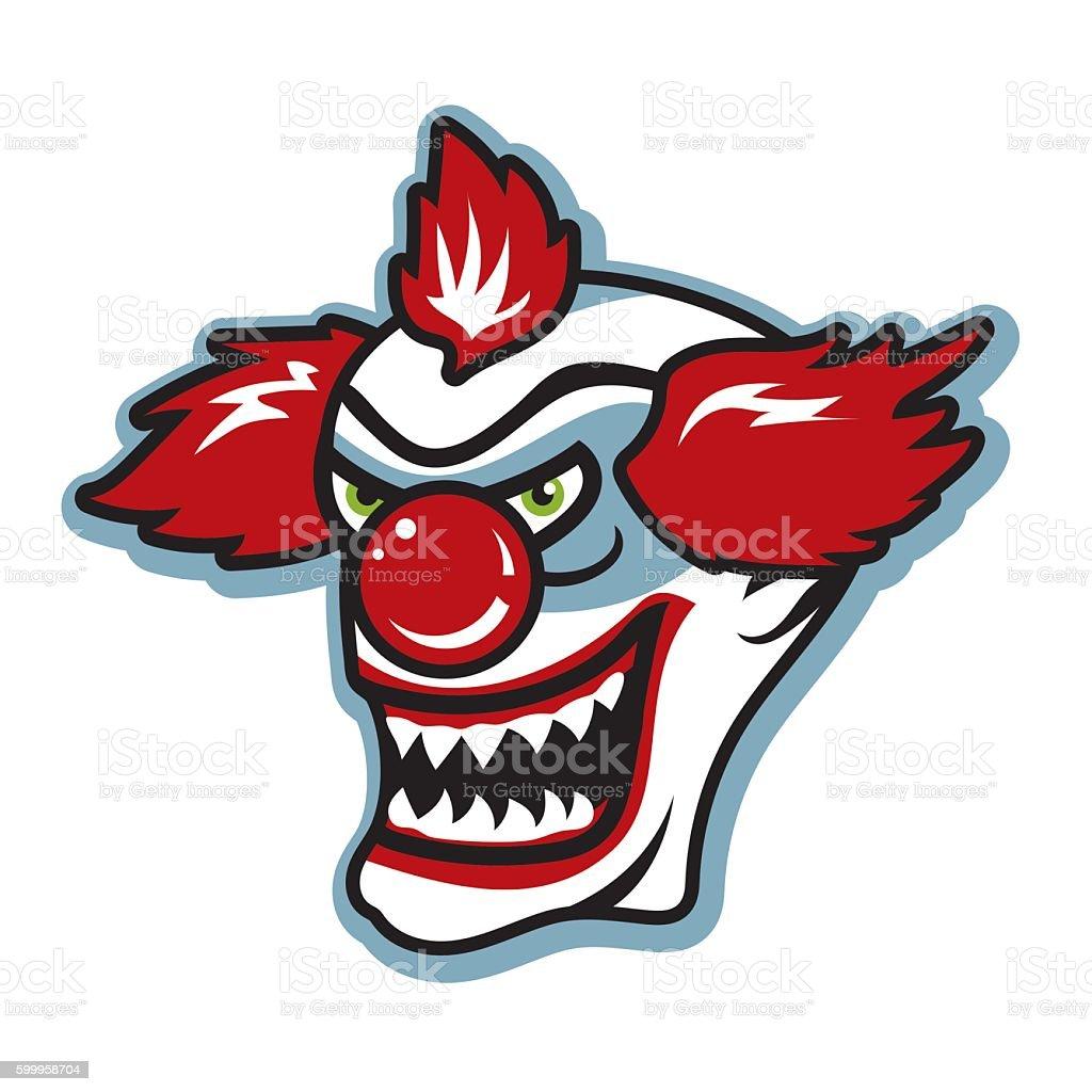 Scary killer clown with sharp teeth vector art illustration