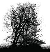 Mezzotint illustration of a scary, haunted landscape.