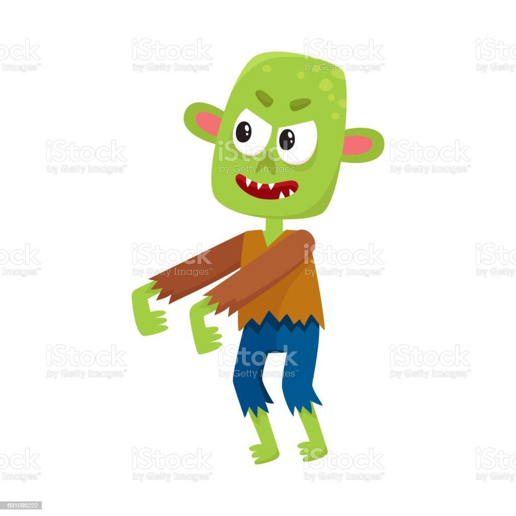 Enge Halloween Kostuums.Enge Kleine Groene Zombie Monster In Lompen Halloween