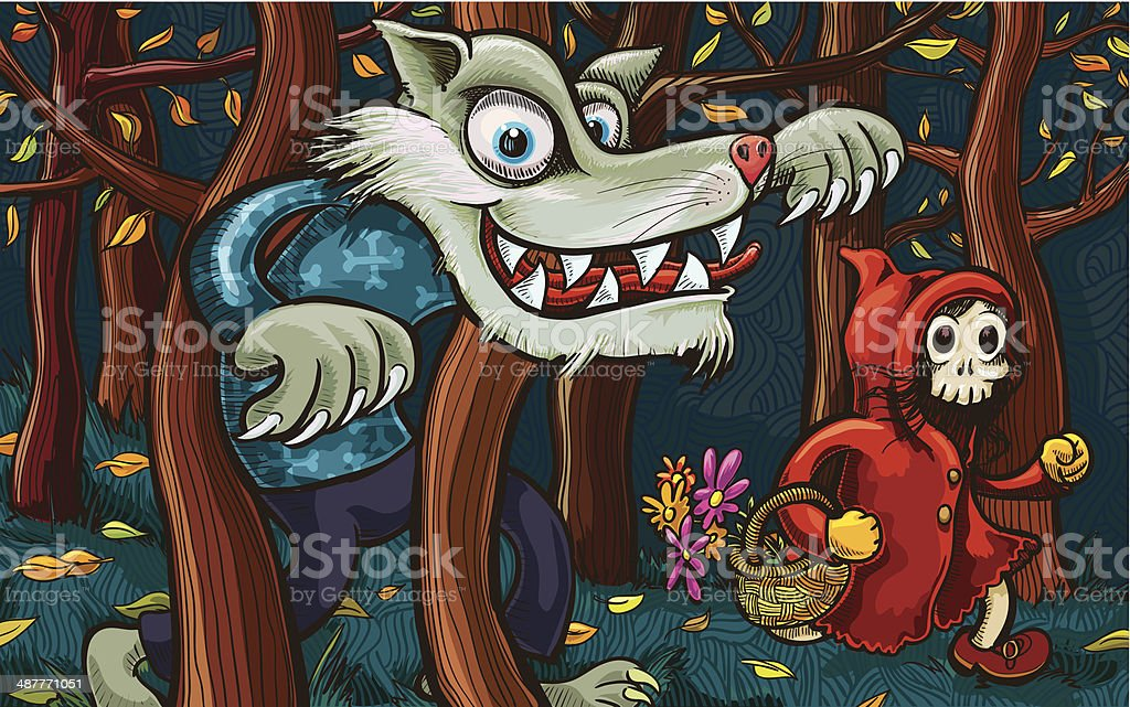 Scary Little Red Riding Hood and Big Bad Wolf vector art illustration