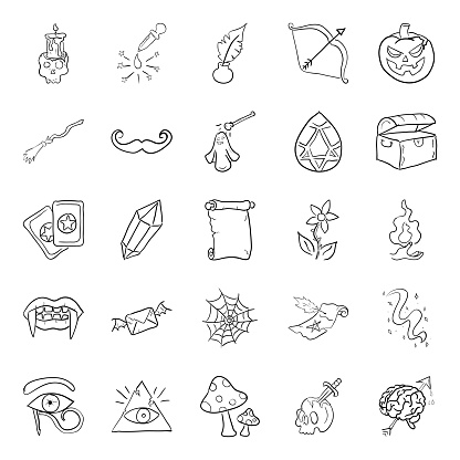 Scary Magic Doodle Vectors Pack