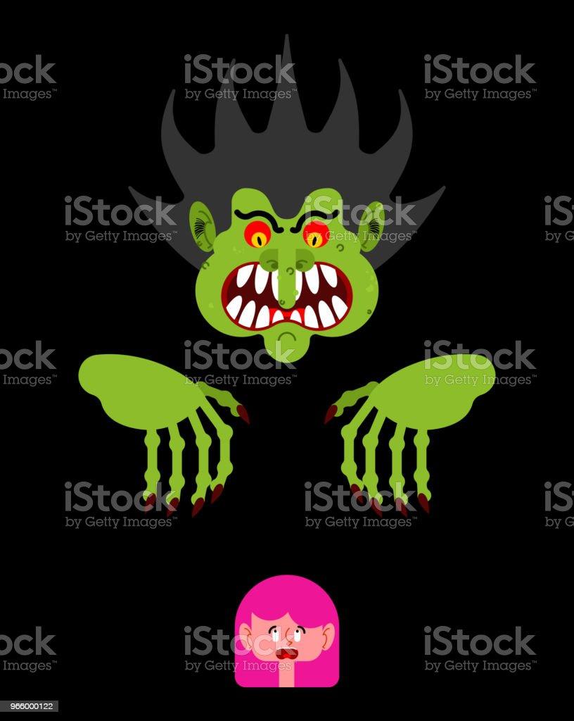 Beängstigend Mann kleine Mädchen zu erschrecken. Albtraum-Monster mit langen Krallen. Vektor-illustration - Lizenzfrei Angst Vektorgrafik