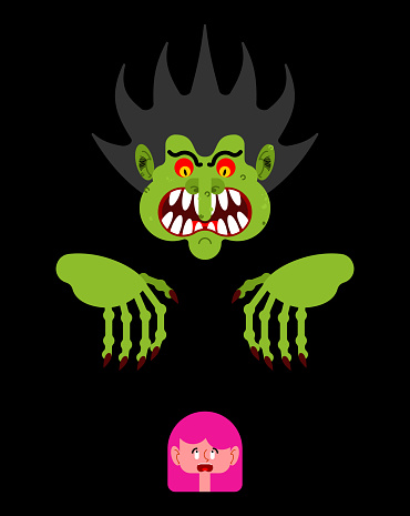 Enge Man Meisje Schrikken Nachtmerrie Monster Met Lange Klauwen Vectorillustratie Stockvectorkunst en meer beelden van Alleen volwassenen