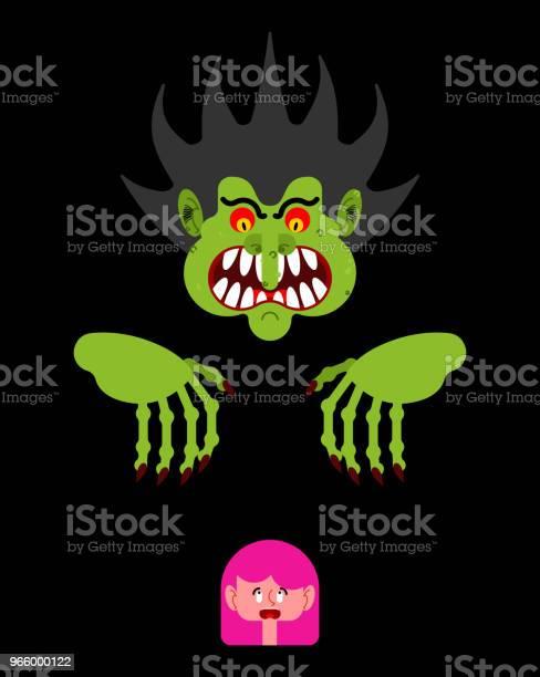 Beängstigend Mann Kleine Mädchen Zu Erschrecken Albtraummonster Mit Langen Krallen Vektorillustration Stock Vektor Art und mehr Bilder von Angst