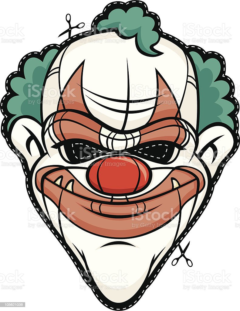 scary mask clown halloween head monster face royaltyfree stock vector art