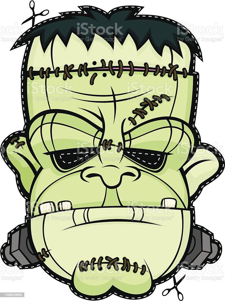 Scary Mask Frankenstein Halloween Head Monster Face Stock ...