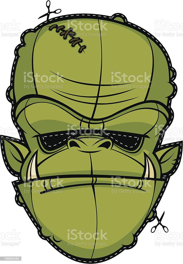 Scary Mask Ogre Halloween Head Monster Face royalty-free stock vector art