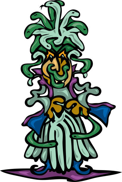 Scary Medusa with snakes in hair casts her spell vector art illustration