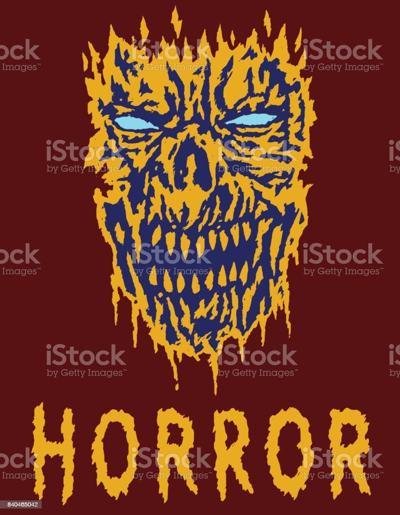Scary monster shabby head. Vector illustration. vector art illustration