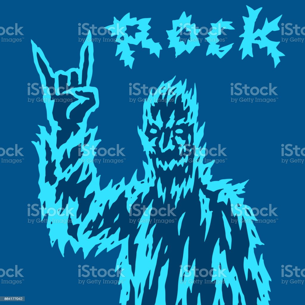 Scary monster shows the horn's gesture. Vector illustration. royalty-free scary monster shows the horns gesture vector illustration stock vector art & more images of apocalypse