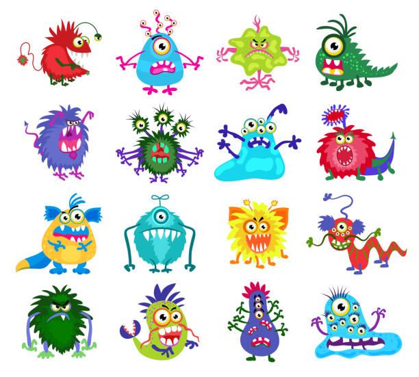 scary monster vector set - monster stock-grafiken, -clipart, -cartoons und -symbole