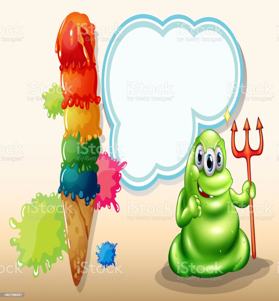 scary monster with death fork standing near the giant icecream royalty-free scary monster with death fork standing near the giant icecream stock vector art & more images of advertisement