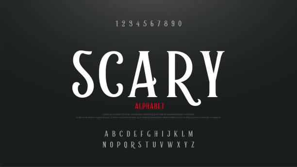 illustrazioni stock, clip art, cartoni animati e icone di tendenza di scary movie alphabet font. typography horror designs concept. vector illustration - malvagità