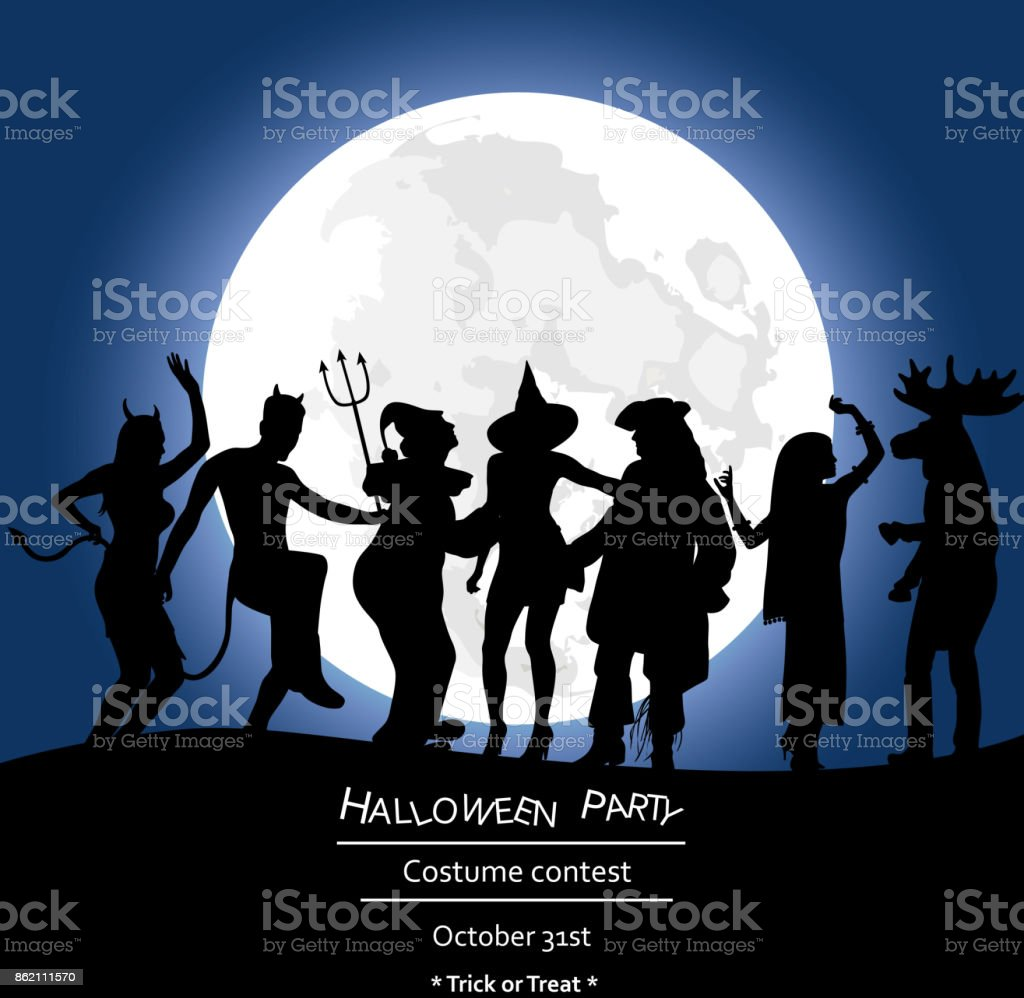 Scary Night Moon Fright vector art illustration
