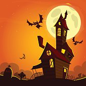Scary old ghost haunted house. Halloween card or poster.