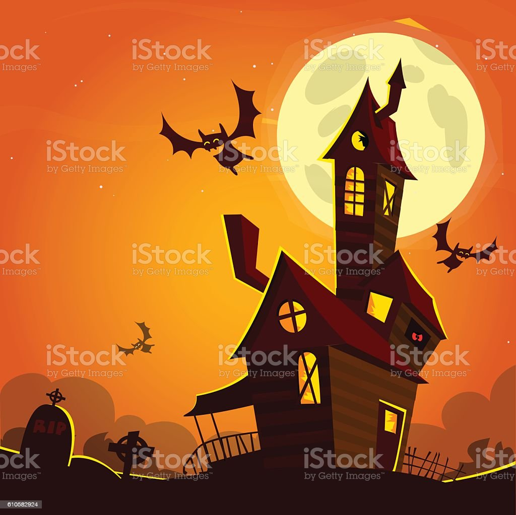 Scary old ghost haunted house. Halloween card or poster. vector art illustration