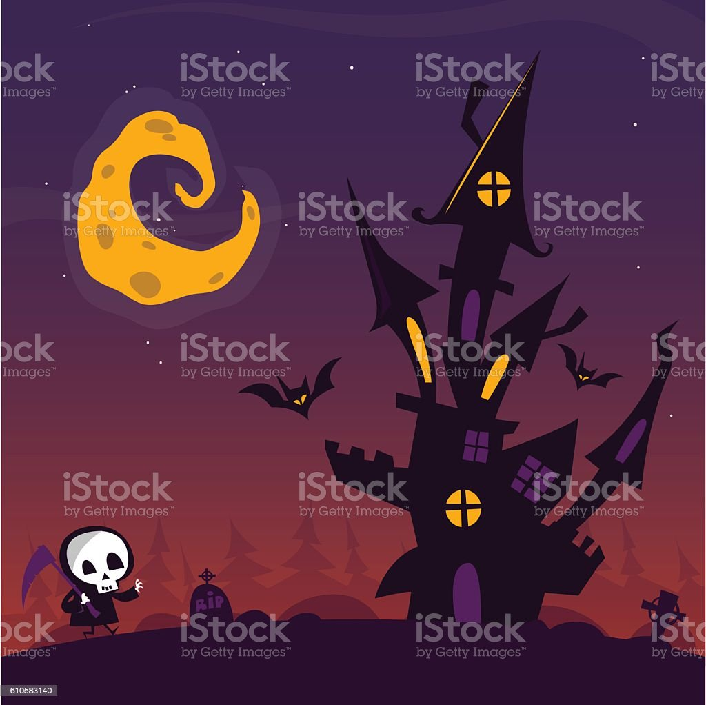 4a29bb71f4cd7 Scary Old Ghost Haunted House With Cemetery And Walkind Death Stock ...