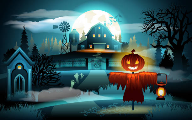 Scary old graveyard and farm house on blue moonlight - Halloween background. Scarecrow with pumpkin head Scary old graveyard and farm house on blue moonlight - Halloween background. Scarecrow with pumpkin head. scary halloween scene silhouettes stock illustrations