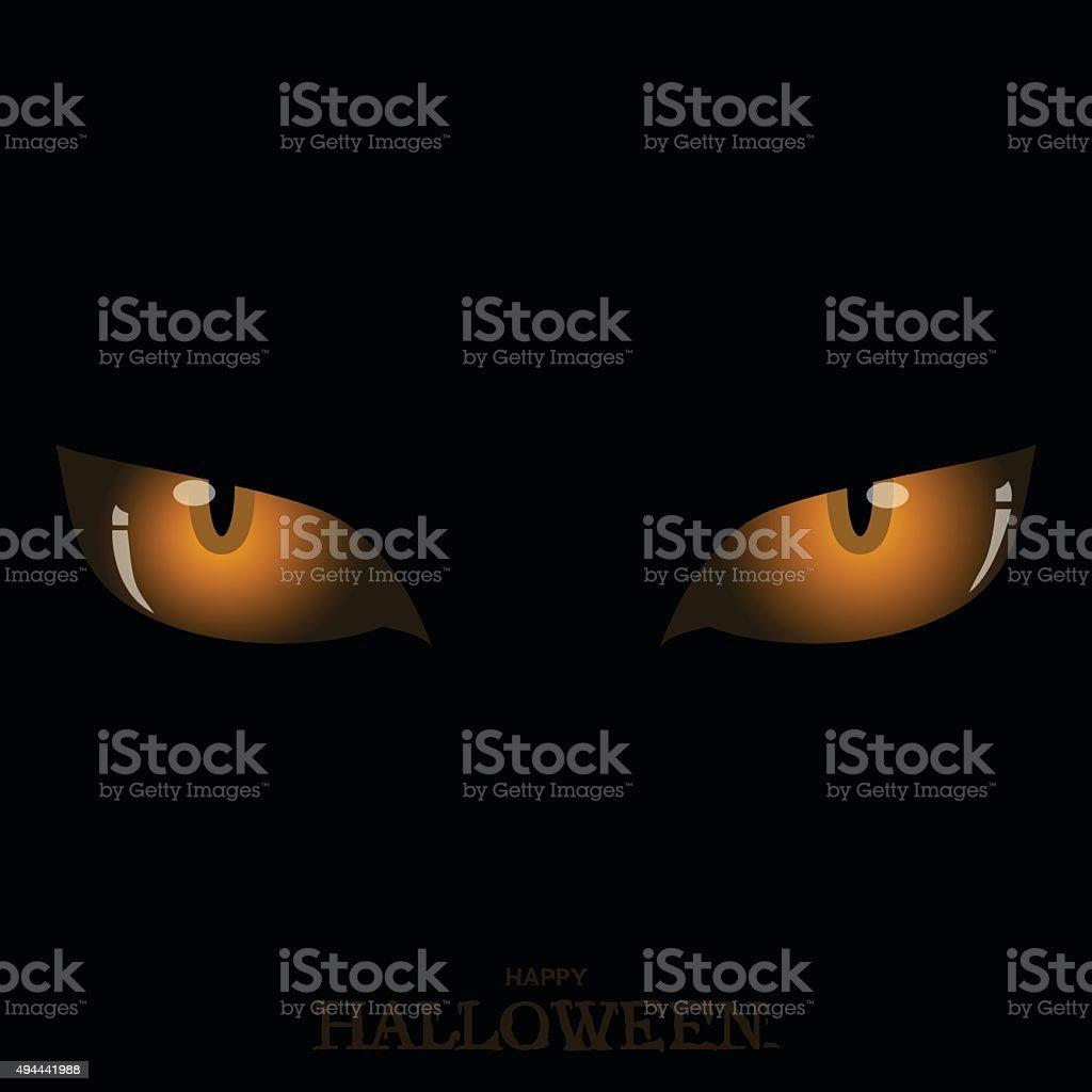 Scary orange cat's eyes on dark Halloween vector art illustration
