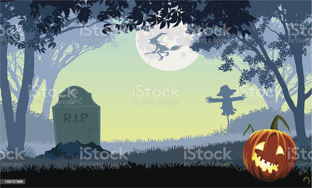 Scary park vector art illustration