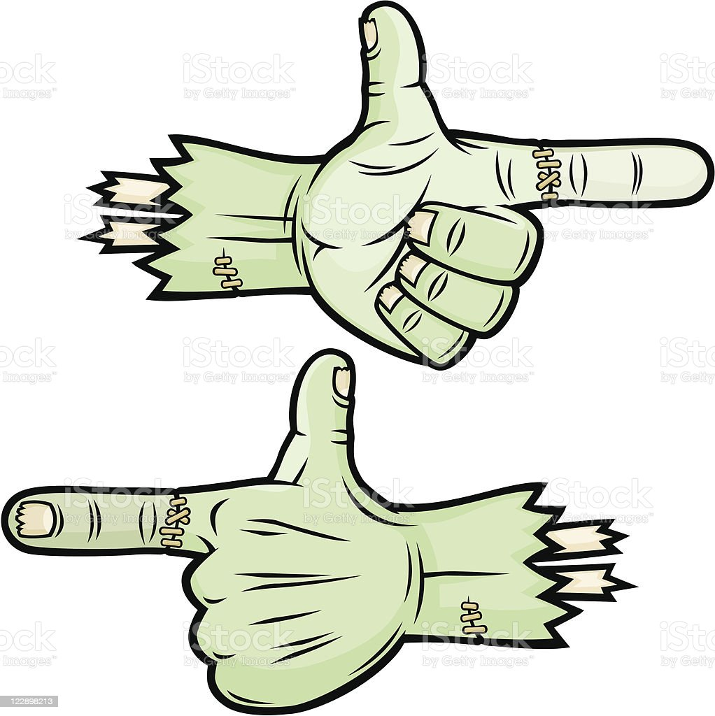 Scary Pointing Thumbs Up Monster Hands Stock Illustration ...