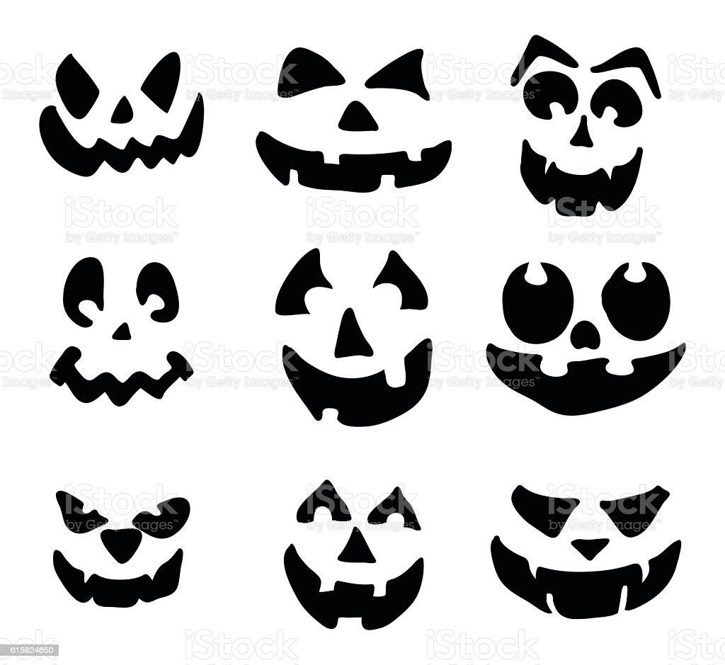 scary pumpkin face vector symbol icon design stock vector