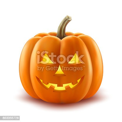 istock Scary pumpkin halloween lantern realistic vector 853355726