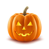 Scary pumpkin jack-o-lantern with creepy toothy smile and fiery glow inside realistic vector illustration isolated on white background. Traditional decoration, symbol of halloween holiday celebration