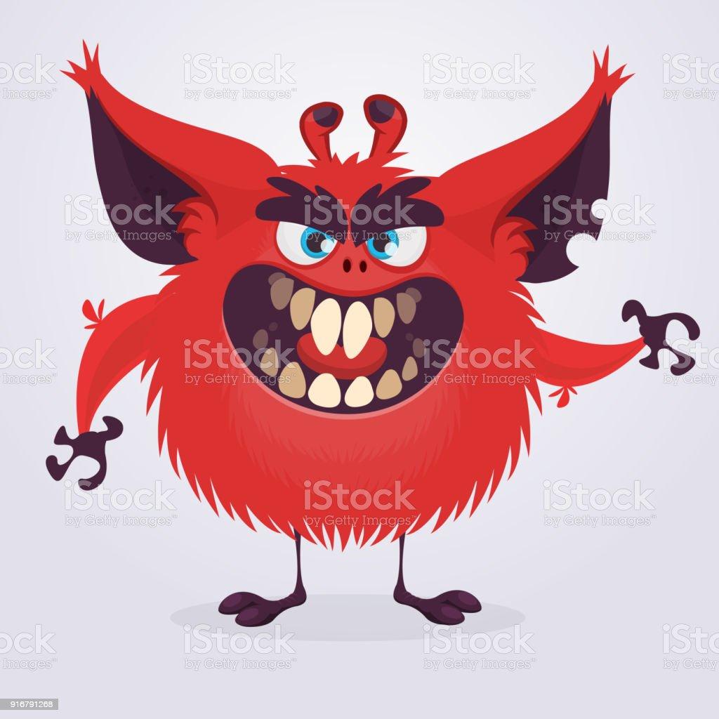 Scary red cartoon monster waving hands. Halloween vector illustration vector art illustration