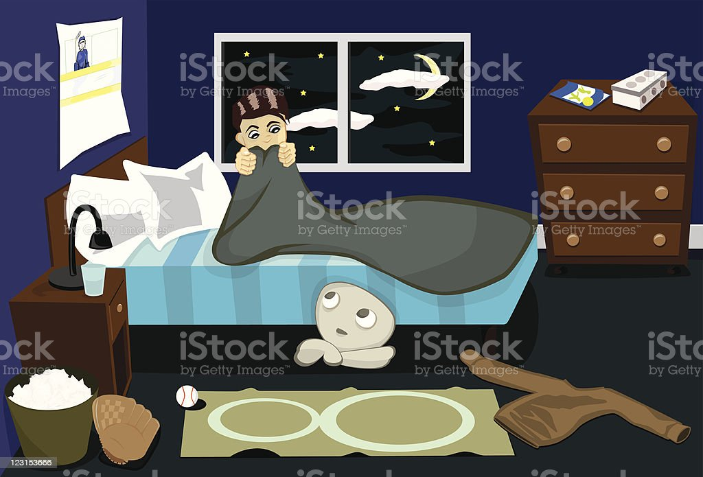 Scary Room vector art illustration