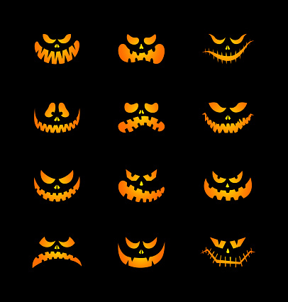 Scary silhouettes of pumpkin faces set. Halloween. Vector illustration.
