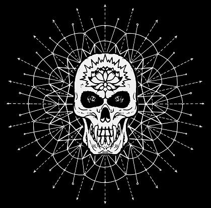 Scary skull against white pattern circle on black background