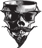 Scary Skull Mascot With Mustache And Sunglasses