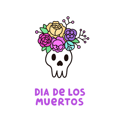 Scary Skull with a wreath of flowers and inscription Dia de los muertos.