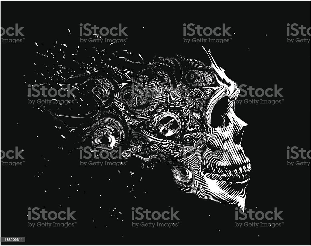 Scary Space Skull vector art illustration