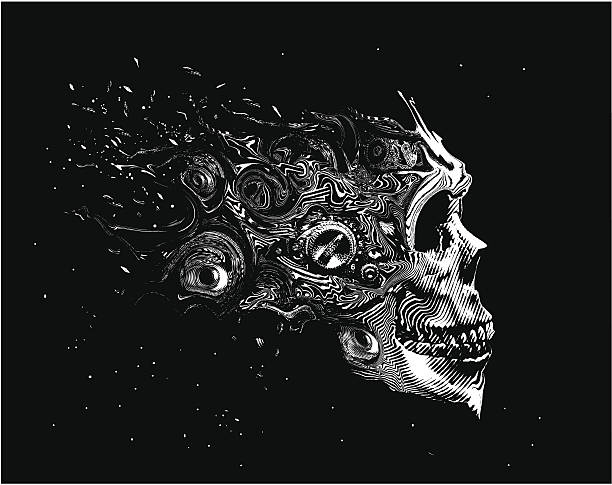 Effrayant Space Skull - Illustration vectorielle