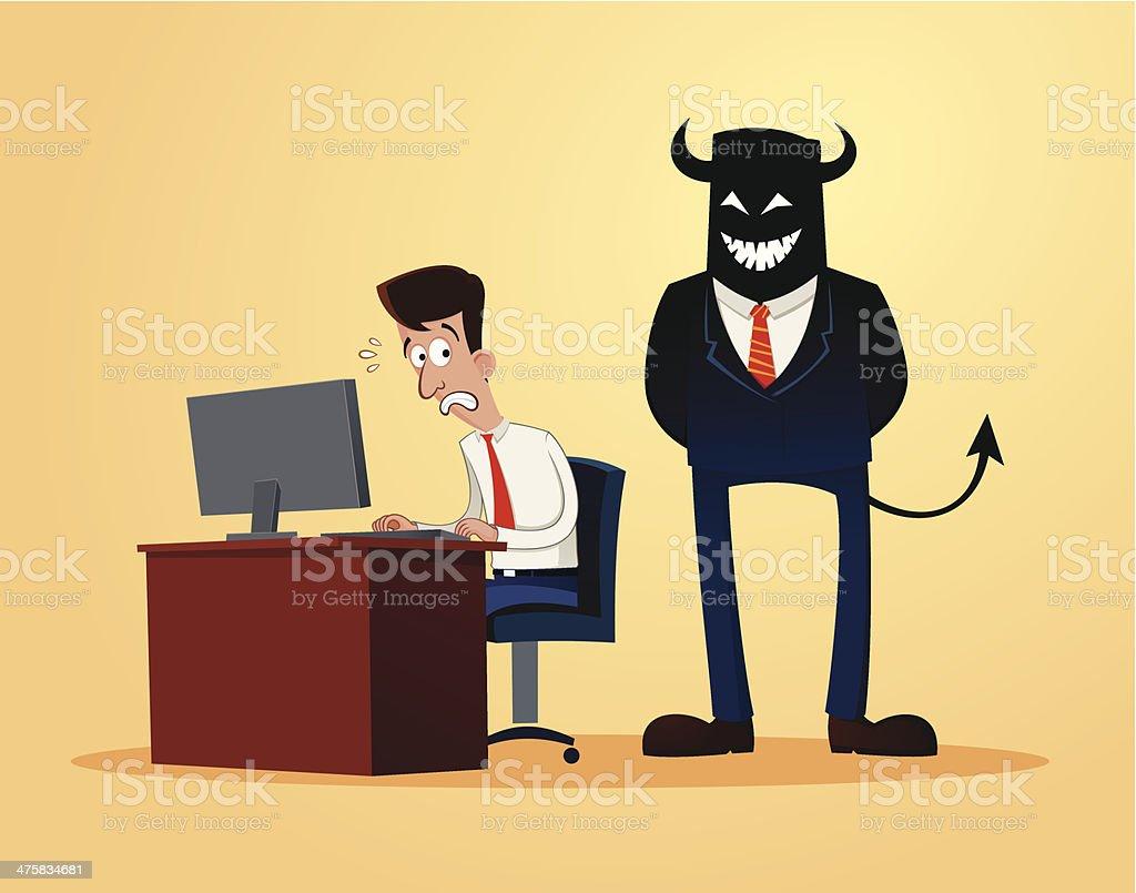 scary supervisor vector art illustration