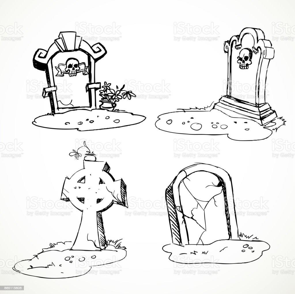 scary tombstones in halloween night outlines stock vector art & more
