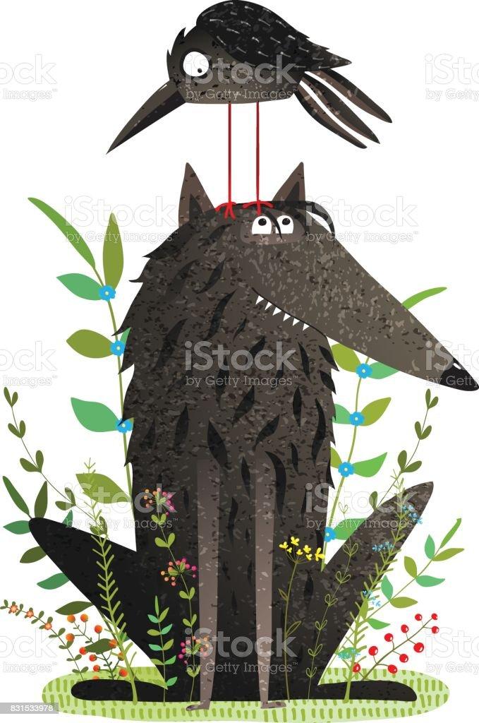 Scary Wolf und lustige Krähe im Wald – Vektorgrafik