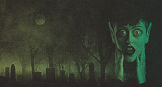 Scary woman monster with shocked expression in spooky cemetery