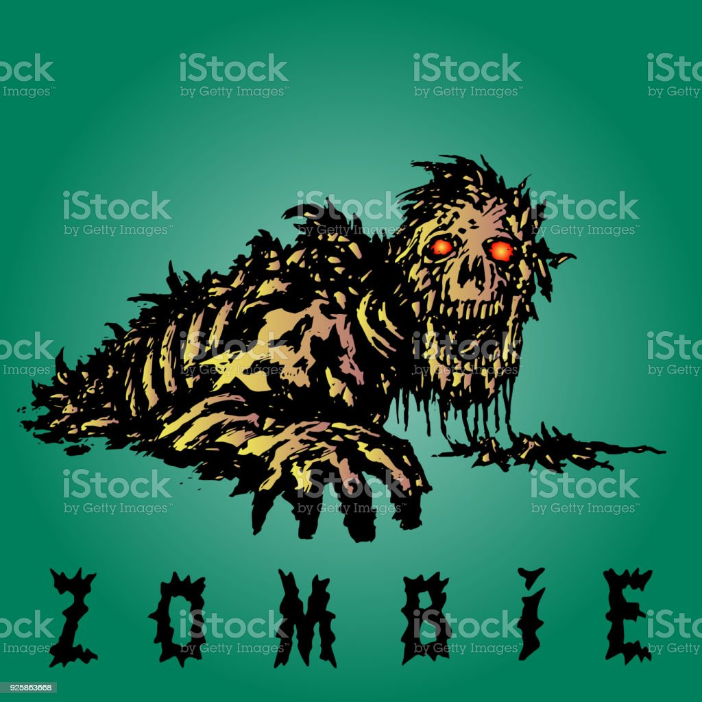 Scary zombie reaches out with his hand. Vector illustration