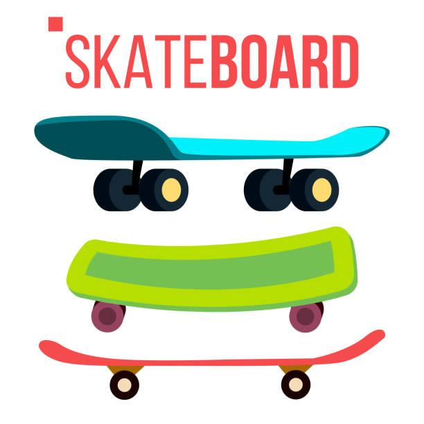 Scateboard Set Vector. Skate Park. Extreme Summer Activity. Isolated Cartoon Illustration Scateboard Set Vector. Skate Park. Extreme Summer Activity. Isolated Flat Cartoon Illustration skate stock illustrations