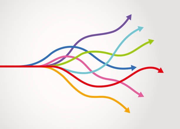 Infografik der verstreuten Pfeile – Vektorgrafik