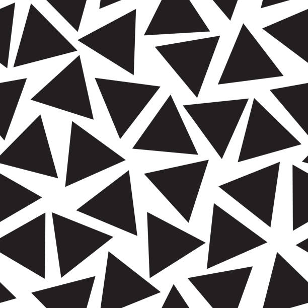 Scattered black triangles on a white background vector art illustration