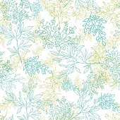 Scattered blue green branches seamless pattern background