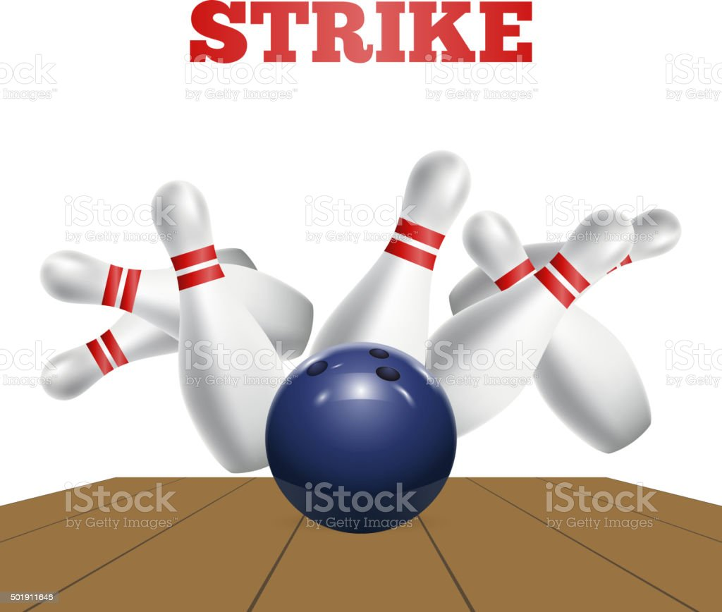 Scattered skittle and bowling ball. Vector vector art illustration