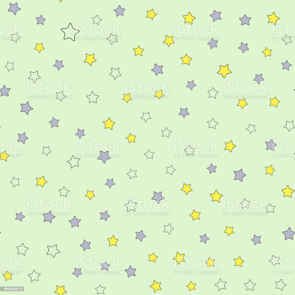 Scattered small colored stars. Cute seamless pattern for children. vector art illustration