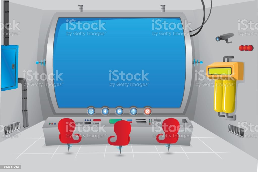 Scenario or background of a special futuristic control room with big screen. Ideal for educational material, animations and games vector art illustration